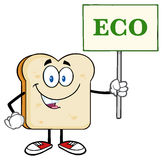 Smiling Bread Slice Cartoon Character Holding A Sign With Text Eco Royalty Free Stock Images