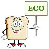 Smiling Bread Slice Cartoon Character Holding A Sign With Text Eco. Smiling Bread Slice Cartoon Mascot Character Holding A Sign With Text Eco. Illustration vector illustration