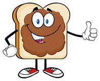 Smiling Bread Slice Character With Peanut Butter Giving A Thumb Up Stock Photography