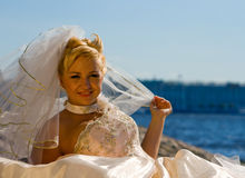 Smiling Bride. Portrait of a smiling bride in veil Stock Photo
