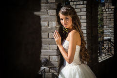 Smiling bride on background of old building with columns, close-up Royalty Free Stock Images