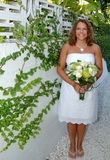 Smiling bride with bouquet Royalty Free Stock Photography