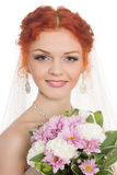 Smiling bride with bouquet Stock Photography