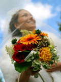 Smiling bride bouquet and veil Royalty Free Stock Image