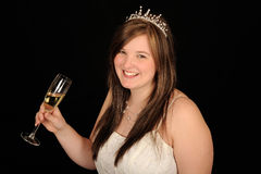 Smiling bride with drink Royalty Free Stock Images
