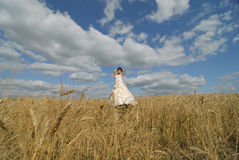 Smiling bride in a field Stock Photos