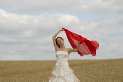 Smiling bride in a field Royalty Free Stock Images