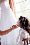Smiling Bride Getting Ready Stock Photos