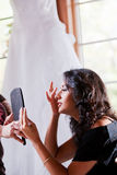 Smiling Bride Getting Ready Royalty Free Stock Images