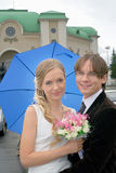 Smiling bride and groom Stock Photos