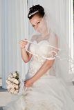 Smiling bride outdoors Royalty Free Stock Photos
