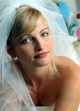 Smiling bride in white dress royalty free stock photo