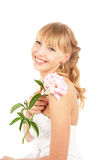 Smiling Bride With Peony Stock Image