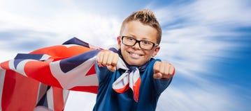 Smiling British superhero Stock Photos