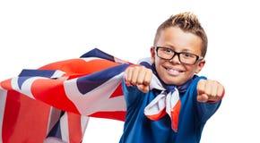 Smiling British superhero Stock Images
