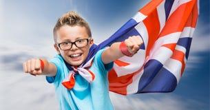 Smiling British superhero Stock Image