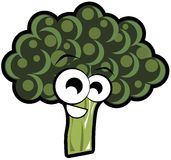 Smiling broccoli cartoon isolated Royalty Free Stock Images