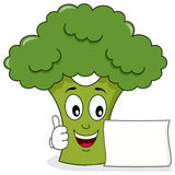 Smiling Broccoli Character with Banner stock photography
