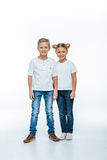 Smiling brother and sister. On white background Royalty Free Stock Photo