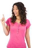 Smiling brown haired woman finger up Royalty Free Stock Photos