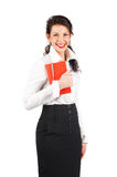 Smiling brunette business woman with organizer Royalty Free Stock Photography