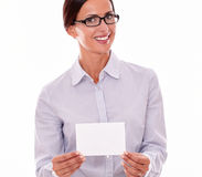 Smiling brunette businesswoman with copy space Royalty Free Stock Photos