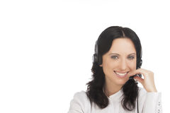 Smiling brunette call-center customer's support Stock Photo