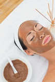 Smiling brunette getting a mud treatment facial Stock Photos