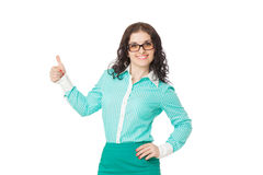 Smiling brunette girl in green skirt and blouse showing thumbs u Royalty Free Stock Photos