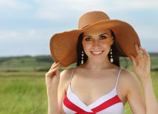 Smiling brunette girl summer day Stock Image