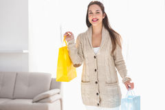 Smiling brunette holding shopping bags Royalty Free Stock Photo