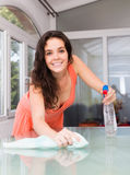 Smiling brunette houswife cleaning  furniture Royalty Free Stock Photos
