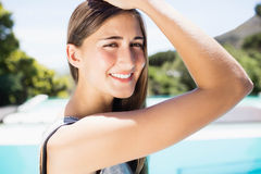 Smiling brunette looking at the camera Stock Photos