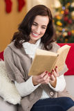 Smiling brunette reading on the couch at christmas Royalty Free Stock Photos