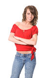 Smiling Brunette in Red Royalty Free Stock Images