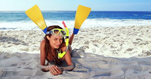 Smiling brunette with snorkeling equipment stock video footage