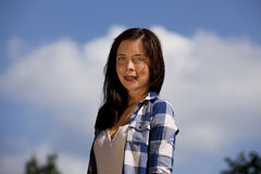 Smiling brunette teenage girl with braces Stock Photo