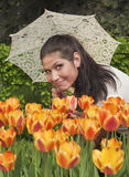 Smiling brunette with an umbrella Royalty Free Stock Photo