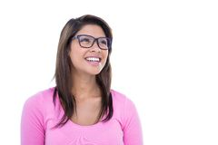 Smiling brunette wearing glasses and looking away Royalty Free Stock Photography