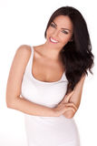 Smiling brunette woman Stock Photos