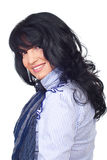 Smiling brunette woman with bangs stock images
