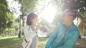Smiling brunette woman blowing soap bubbles to her teenage granddaughter in the sunny autumn park. Happy family spending. Weekend outdoors. Good relashionship stock video footage