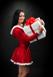 Smiling brunette woman with Christmas present Royalty Free Stock Photo