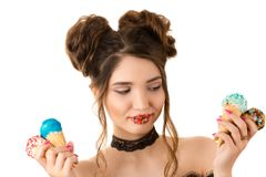 Smiling brunette woman with colorful makeup on lips with ice cream Royalty Free Stock Photo