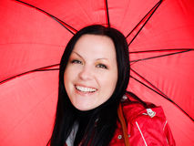Smiling brunette woman in fall clothes Royalty Free Stock Photo
