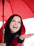 Smiling brunette woman in fall, rainproof clothes Royalty Free Stock Photos