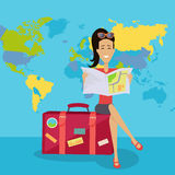 Smiling Brunette Woman Seating on Suitcase Royalty Free Stock Photos