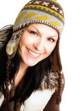 Smiling brunette woman in winter clothe Stock Image
