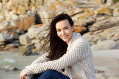 Smiling brunette woman in wool knitted sweater Stock Photography