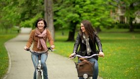 Smiling Brunettes on the Bicycles are Riding in the Park During the Spring.Two Active Young Women Wearing Jackets and. Jeans are Spending Time Together with stock video